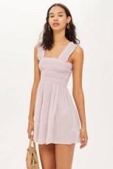 Topshop Pink Shirred Mini Dress | summer style