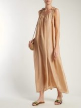 LOUP CHARMANT Beige Silk slip maxi-dress ~ vacation style