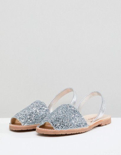 Solillas Silver Glitter Menorcan Sandals in silver – sparkly summer flats