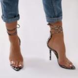 public desire STEFANI LACE UP HEELS IN FAUX SNAKE – ankle wrap – ties – heels