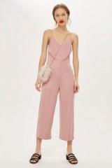 Topshop Strappy Satin Jumpsuit | blush-pink crop leg jumpsuits