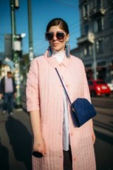 Looking chic in a pink coat, statement jewellery and big sunnies ~ street style at Milan Design Week 2018