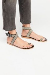 Free People – FP Collection Sunset Cruise Sandal in Black Combo | embellished strappy flats