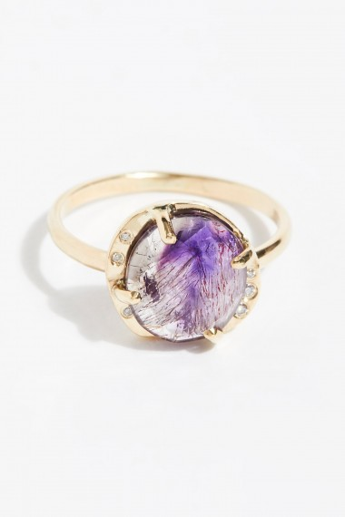 Facets of Earth Super Seven Diamond Ring | purple stone jewellery