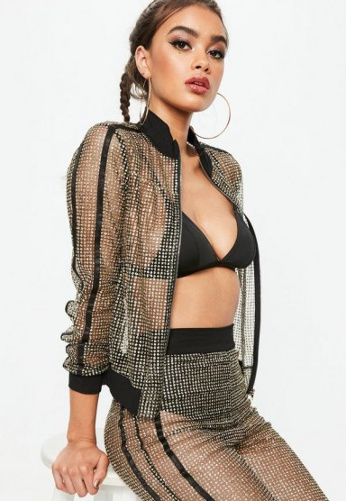 MISSGUIDED tall black embellished track jacket – sports luxe