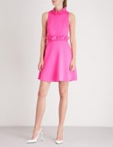 TED BAKER Janein ruffled jersey mini skater dress in neon pink