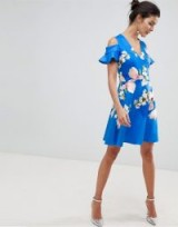 Ted Baker cold shoulder skater dress in harmony floral in bright blue