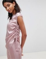 Ted Baker Ted Says Relax Ruched Side Knitted Trim Top in Dusky Pink
