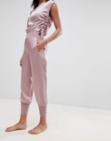 Ted Baker Ted Says Relax Satin Jogger With Knit Trims Dusky Pink ~ luxe leisurewear