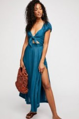 Endless Summer The Getaway Midi Dress in Riviera | blue plunge front fashion