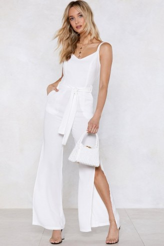 NASTY GAL Time to Split Linen Jumpsuit in white | summer fashion | side leg slits