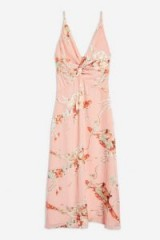 TOPSHOP Twist Front Floral Mini Dress in Blush – pink summer cami