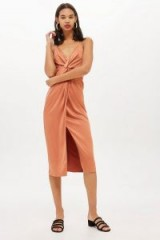 Topshop Twist Front Midi Slip Dress in Camel | cami straps