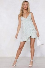 NASTY GAL Vacay Romance Gingham Dress in sage | green checked summer fashion
