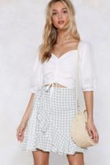 NASTY GAL Vacay Romance Gingham Skirt in sage | checks & ruffles