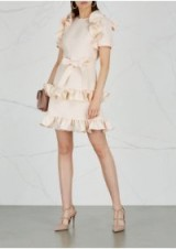 VALENTINO Ivory ruffle-trimmed wool-blend dress | luxe party fashion