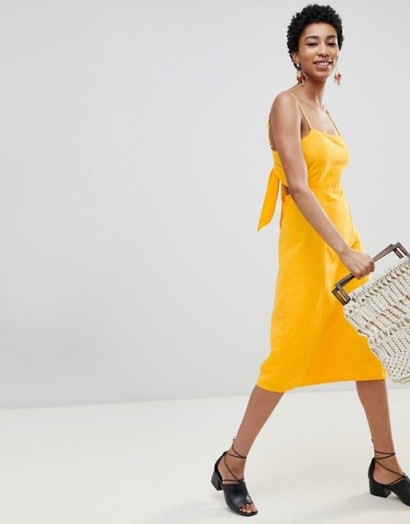 Vero Moda Tall Midi Dress With Cut Out Back in Yellow – strappy – sundress