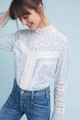 Ranna Gill Victoria Laced Blouse | spot print/high neck