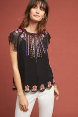 Vanessa Virginia Vivica Embroidered-Sheer Tee | black floral tops