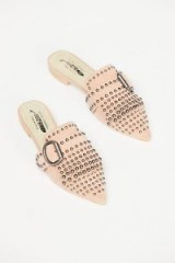 Jeffrey Campbell Wanderer Stud Flat Pink Suede | point toe mules