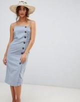 Warehouse Linen Column Button Dress | strappy summer fashion