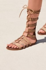 Roan Washed Ashore Tall Gladiator Sandal in taupe | strappy distressed leather gladiators | boho summer flats