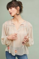 Ranna Gill Westown Embroidered Peasant Top | sheer cream blouses