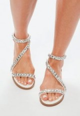 missguided white asymmetric chain t bar sandals – summer – strappy – flats