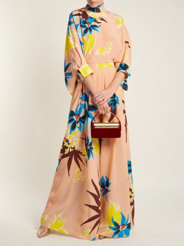 DELPOZO Wide-leg Hibiscus-print silk trousers ~ chic floral pants