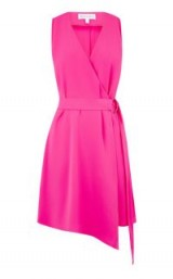 WAREHOUSE WRAP ASYMMETRIC DRESS BRIGHT PINK