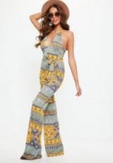 missguided yellow paisley print halter slinky jumpsuit – retro – jumpsuits – halterneck – plunging neckline – printed