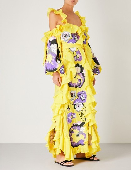 YULIYA MAGDYCH Pansies cotton and silk-blend dress / extreme ruffles / bold floral prints / yellow & purple - flipped