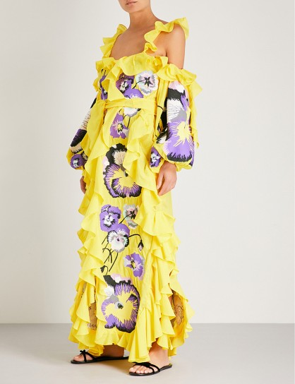 YULIYA MAGDYCH Pansies cotton and silk-blend dress / extreme ruffles / bold floral prints / yellow & purple