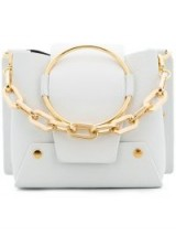 YUZEFI metallic foldover shoulder bag / white leather & gold chain mini handbag