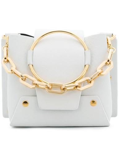 YUZEFI metallic foldover shoulder bag / white leather & gold chain mini handbag