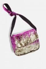 Topshop Zig Zag Sequin Cross Body Bag | pink metallic festival accessories