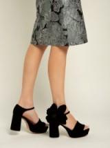 ROCHAS Abigail flower-appliqué platform velvet sandals ~ cute 70s style chunky shoes