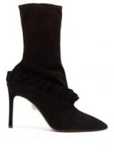 SAMUELE FAILLI Abigail black suede ruffle trim boots