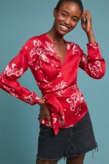 Second Female Adana Printed-Wrap Blouse in Red | silky floral tie waist top