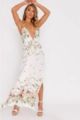 IN THE STYLE AELLA CREAM FLORAL PLUNGE MAXI DRESS – long strappy summer dresses