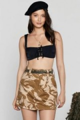 NASTY GAL After Party Vintage Army Brat Camo Skirt in sand / camouflage prints