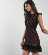 REISS ALEXA LACE OVERLAY FIT AND FLARE DRESS BLACK ~ feminine lbd
