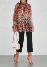 ALEXANDER MCQUEEN Printed open-shoulder chiffon blouse ~ sheer romantic ruffled top ~ metallic threads