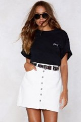 Nasty Gal All Eyes Button You Denim Skirt | white A-line
