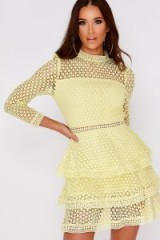 IN THE STYLE AMYA LEMON CROCHET LACE LAYERED DRESS – pale yellow tiered dresses