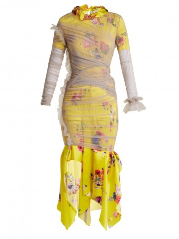 PREEN BY THORNTON BREGAZZI Ariel floral and block-print satin-devoré dress ~ yellow and grey tulle overlay frock