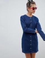ASOS DESIGN denim collarless dress in mid wash in Blue | round neckline