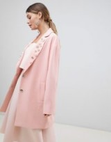ASOS DESIGN Embellished Collar Coat in Pink | faux-pearl lapels
