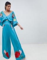 ASOS DESIGN Embroidered Kimono Jumpsuit in Aqua | oriental inspired