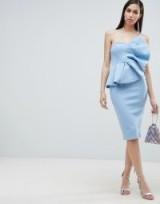 ASOS DESIGN fan bandeau midi dress in blue | style statement party fashion